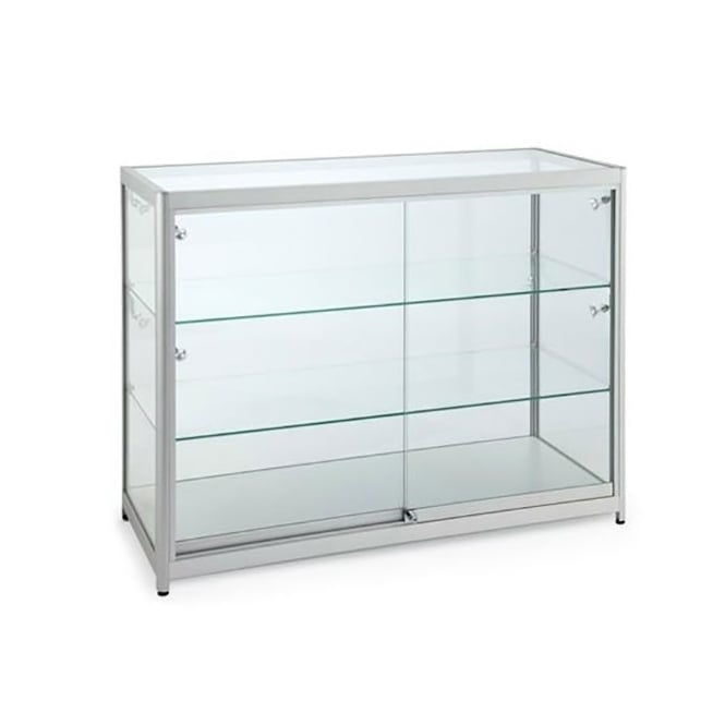 Silver Glass Counter Display Cabinet with Lighting - 1000 x 500mm