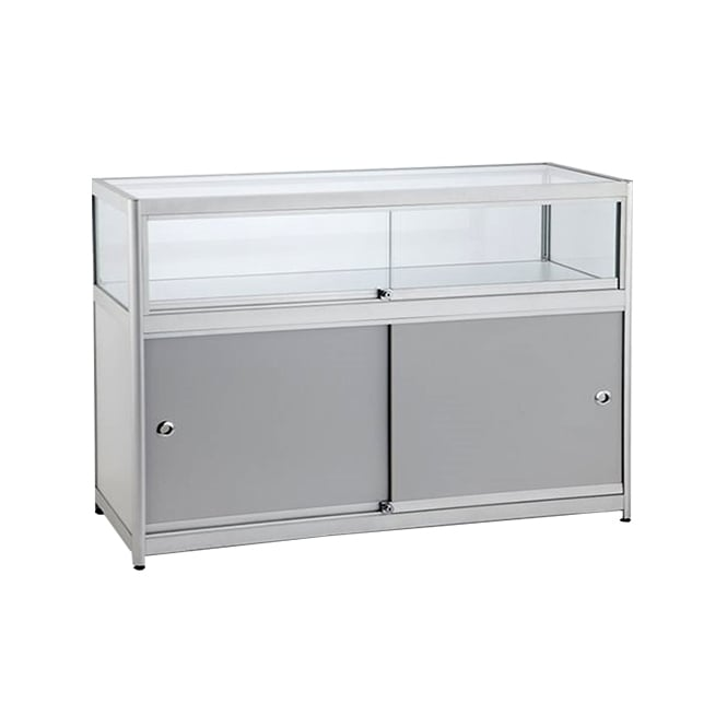 Silver Glass Counter Display Cabinet with Storage - 500mm
