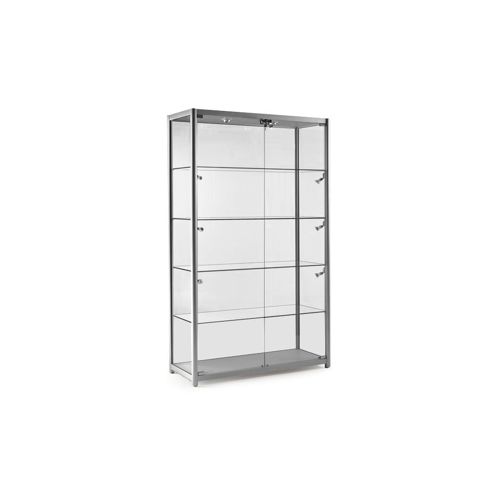 Silver Glass Display Cabinet With 10 Lights   1200mm