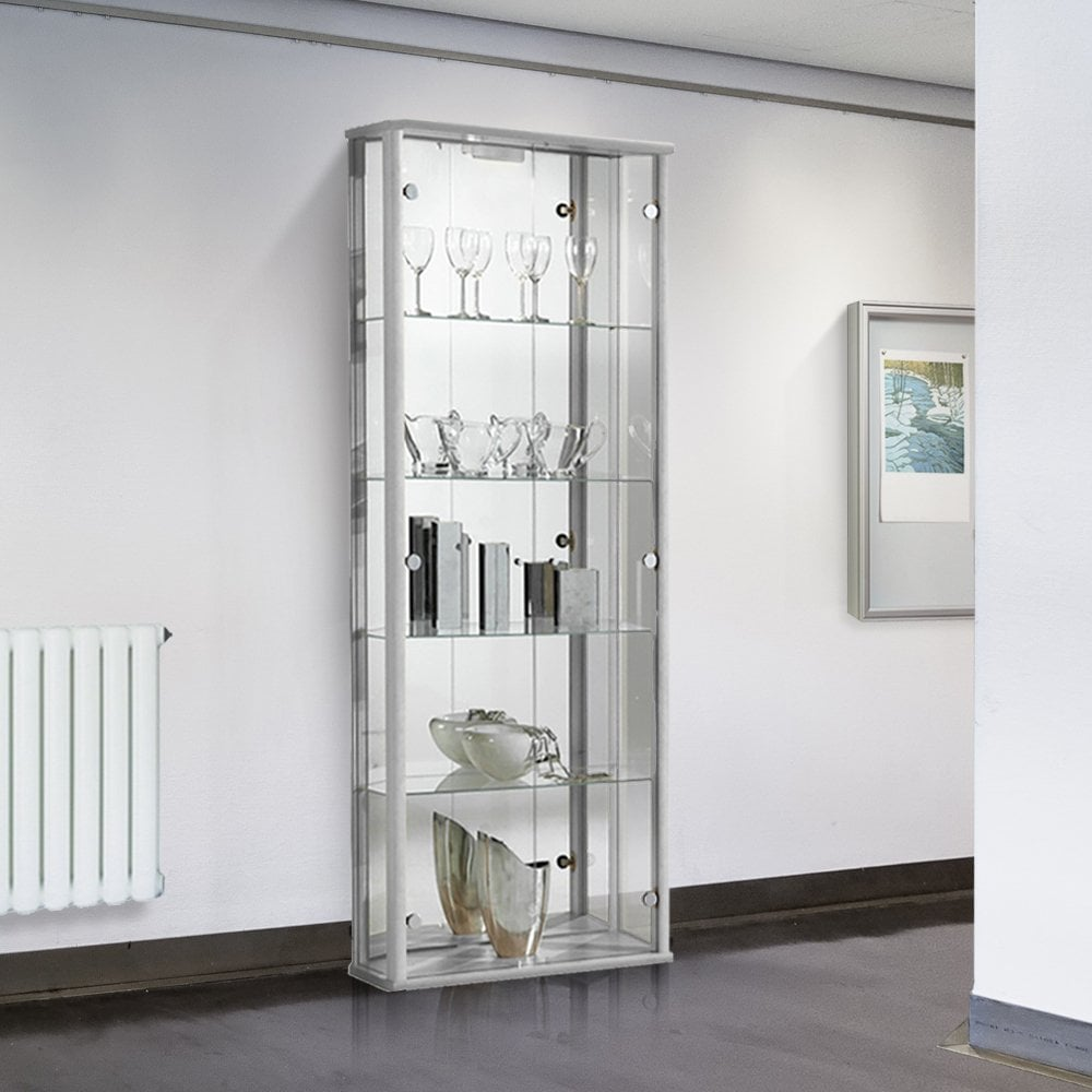 404b830e Silver Glass Display Cabinet with Lighting - 670mm