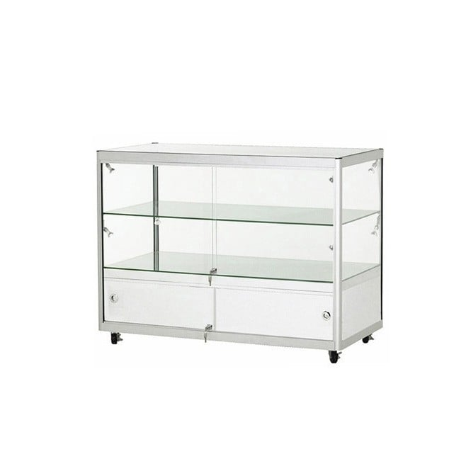 Silver Glass Display Counter with Small Storage Area