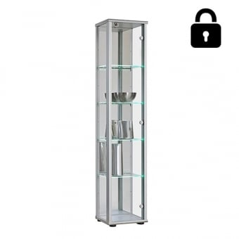 Silver Lockable Glass Display Cabinet with LED Lit Shelves - 370mm