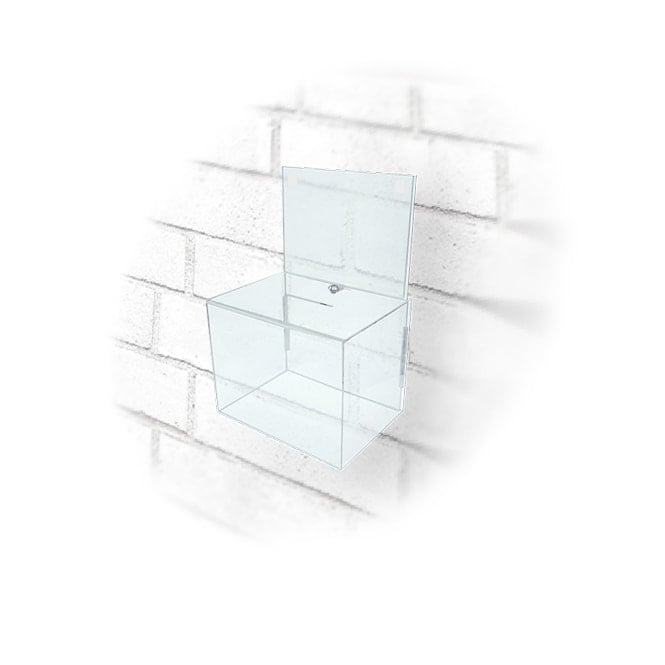Small Clear Acrylic Lockable Ballot Box - Wall Mounted