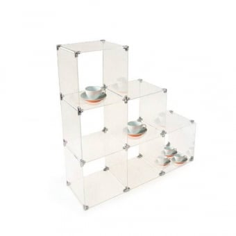 Small Stepped Acrylic Cube Shelving
