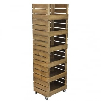 Stackable Rustic Wooden Crate Display - Distressed Finish