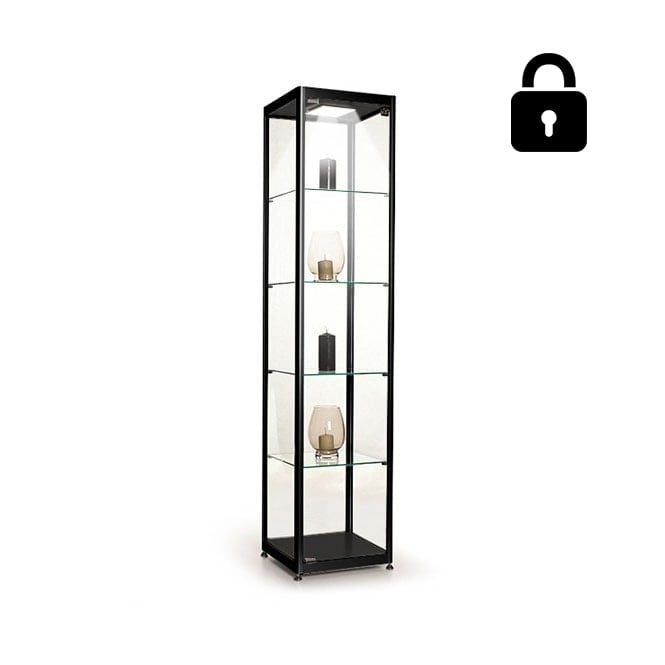 Stahldas Black Glass Display Cabinet with 1 LED Light - 400mm