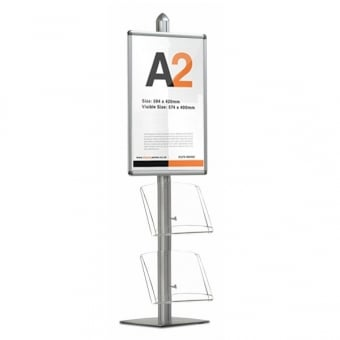 Display Stand with A2 Snap Frame & 2 Acrylic Dispensers - MFS Range
