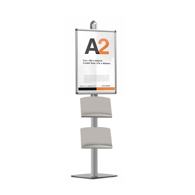 Stahldas Display Stand with A2 Snap Frame & 2 Steel Dispensers - MFS Range