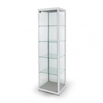 Satin White Glass Display Cabinet - 400mm