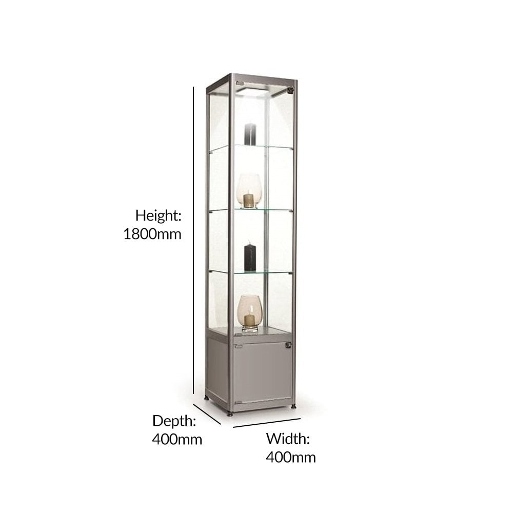 Stahldas Silver Glass Display Cabinet With Storage 1 Led Light 400mm