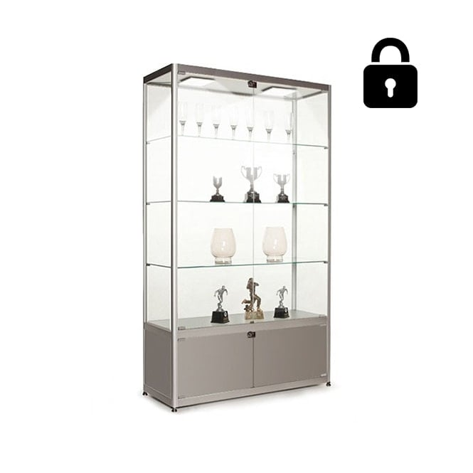Stahldas Silver Glass Display Cabinet with Storage & 2 LED Lights - 1000mm
