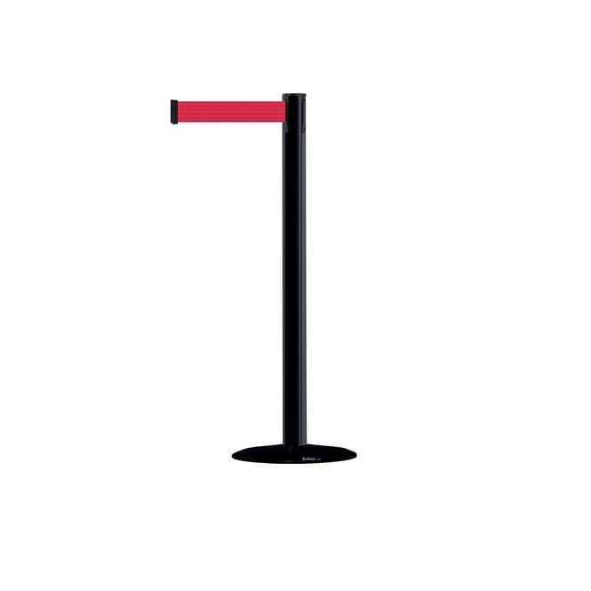 Tensabarrier Advance Black Barrier Post - 2.3m Red Belt