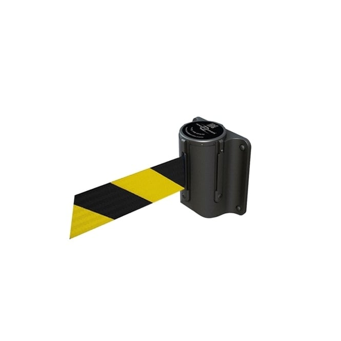Tensabarrier Black Mini Wall Mounted Unit - 2.3m Yellow and Black Belt