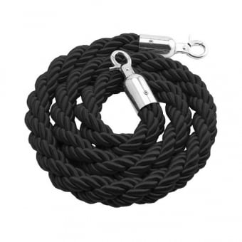 Black Twisted Rope with Chrome Snap Ends - 1.5m