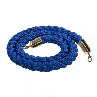Dark Blue Twisted Rope with Brass Snap Ends - 1.5m