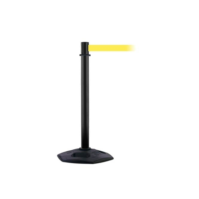 Tensabarrier Heavy Duty Plastic Black Post - 3.65m Yellow Belt