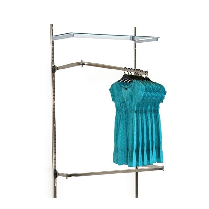 Twin Slot Wall Mounted Angled Double Clothes Rail with Glass Shelf