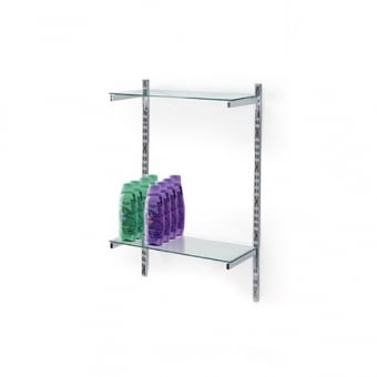 Twin Slot Wall Mounted Shelving With 2 Glass Shelves