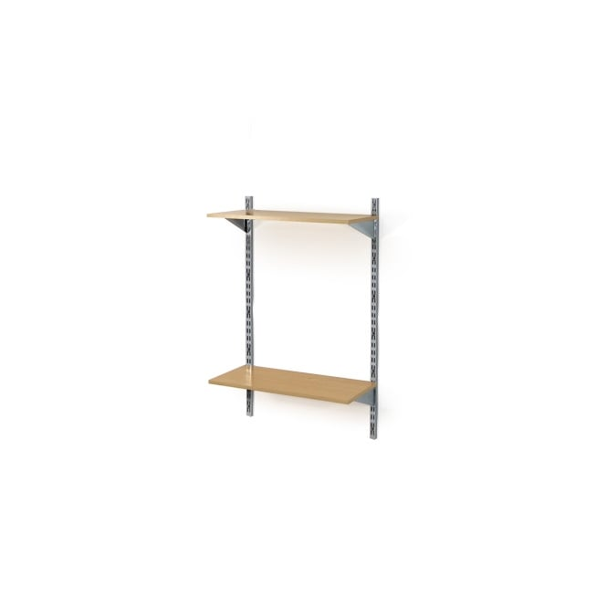 Twin Slot Wall Mounted Shelving With 2 Wooden Shelves