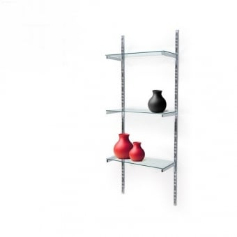 Twin Slot Wall Mounted Shelving With 3 Glass Shelves