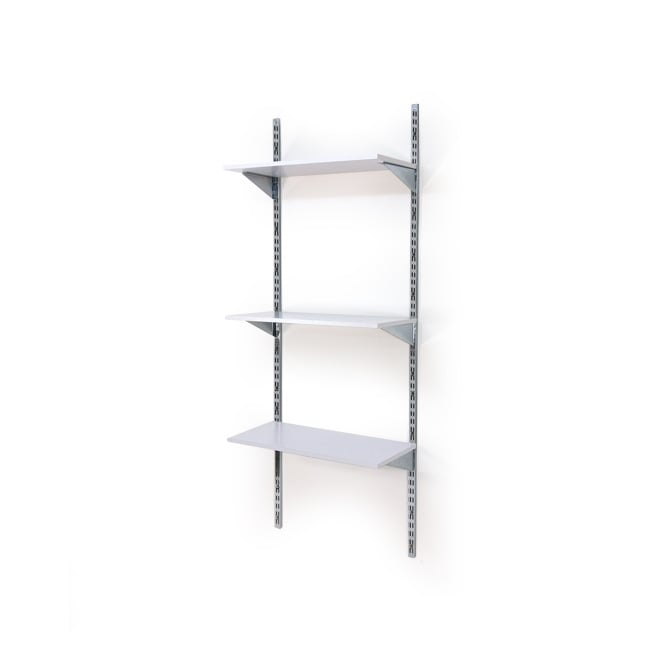 Twin Slot Wall Mounted Shelving With 3 White Shelves