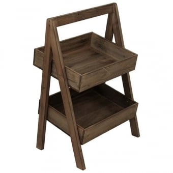 Two Tier Rustic A-Frame Display Stand - Distressed Finish