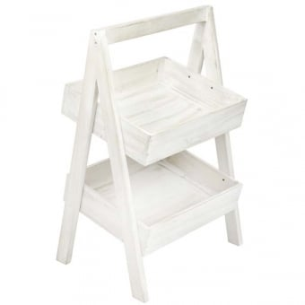 Two Tier Rustic A-Frame Display Stand - White Distressed Finish