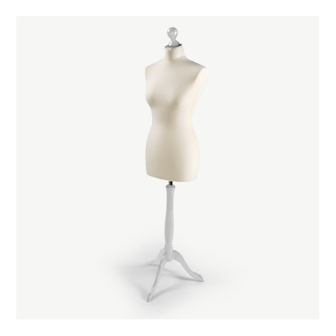 Via Manzoni Female Dressmakers Tailors Dummy - Ecru with White Stand