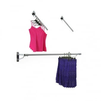 Wall Mounted Clothes Hanging Rail with 2 x 12 Notch Sloped Arms