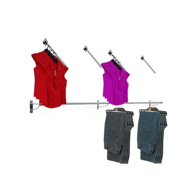 Wall Mounted Clothes Hanging Rail with 4 x 12 Notch Sloped Arms