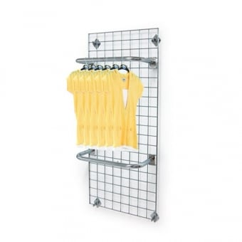 Wall Mounted Gridwall Mesh Panel - 2 x U-Shaped Clothes Rails