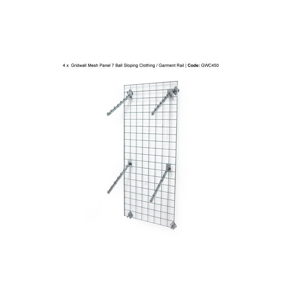 Wall mounted gridwall mesh panel 4 x sloping ball clothes arms wall mounted gridwall mesh panel 4 x sloping ball clothes arms ccuart Images