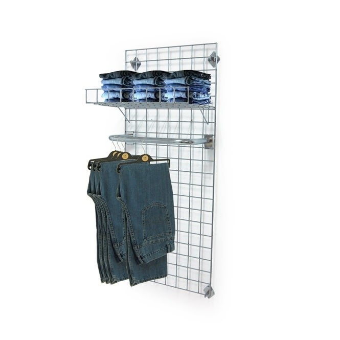 Wall Mounted Gridwall Mesh Panel - U-Shaped Clothes Rail and Shelf