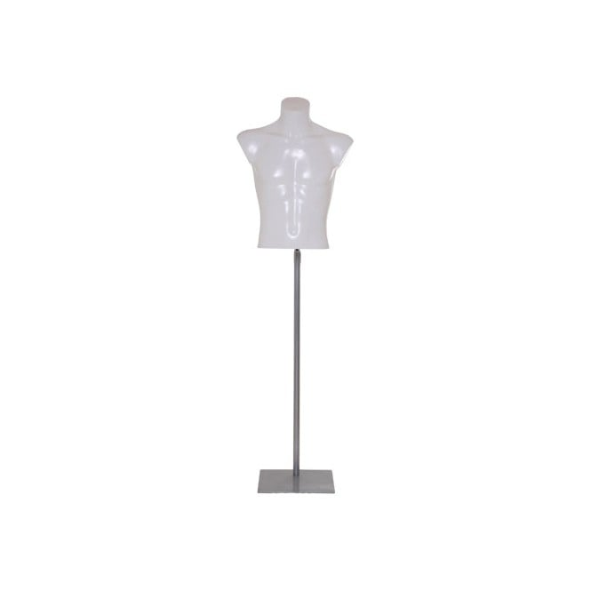 White Economy Male Upper Torso With Stand