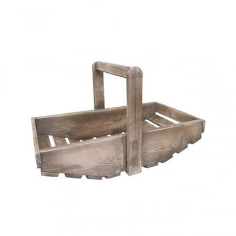 Wooden Trug Display - White Distressed Finish